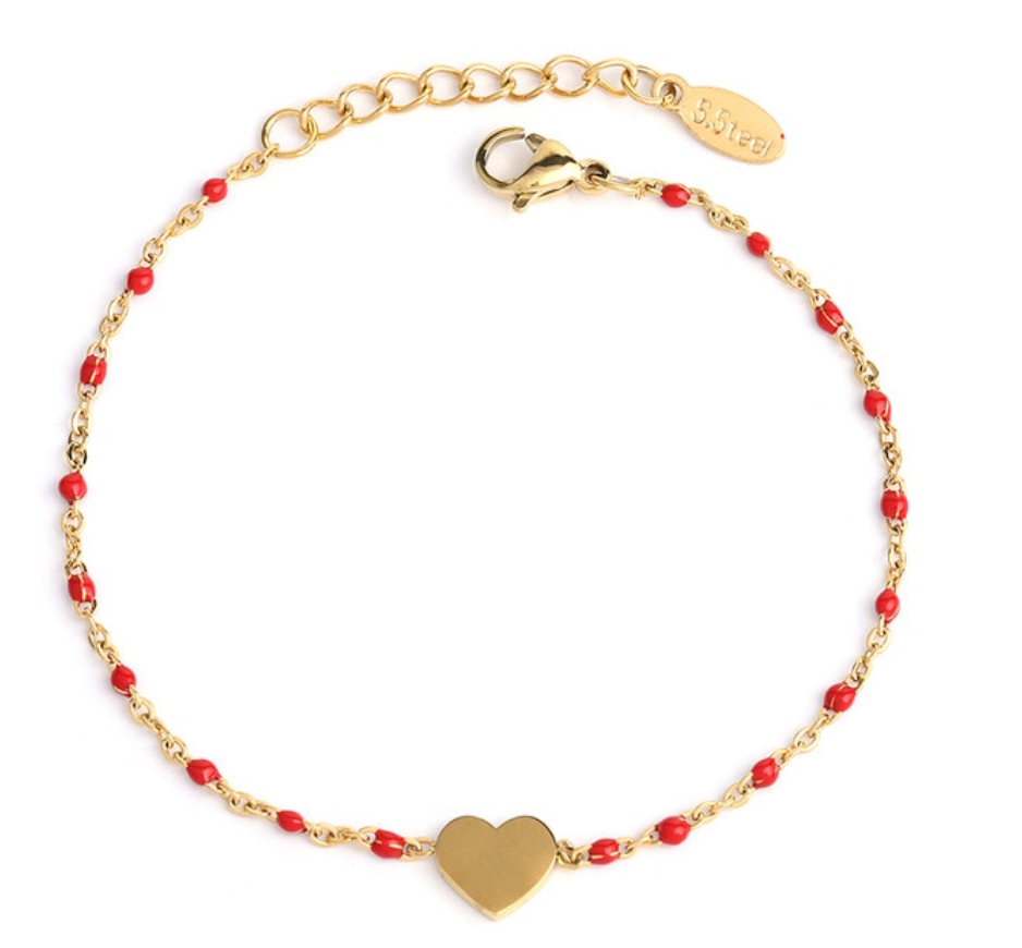 Simple & Sweet: Dainty Gold Chain, Heart Charm, and Bead Bracelets