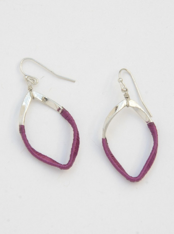 Pink thread wrapped, Twisted Loop Earrings