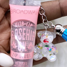 Load image into Gallery viewer, Lip Gloss Key Chain (w/Teddy Bear)