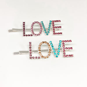Colorful Rhinestone Word Hair Clips (Large)