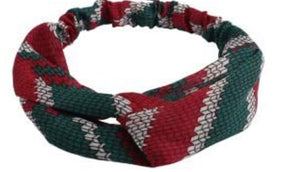 Bold Green and Red Print Headband