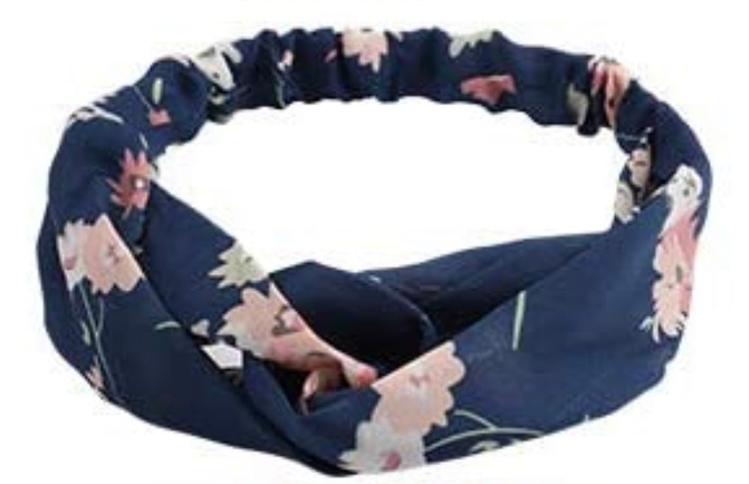 Blue Headband with Pink Floral Accents