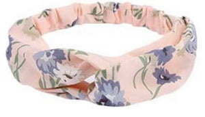 Soft Pink Headband with Floral Accents