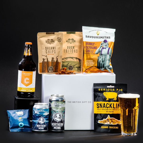beer gift set in luxury magnetic box with crisps and nuts