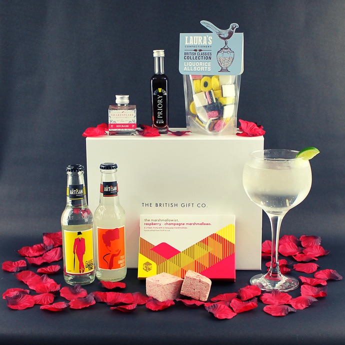 Lockdown Love Valentine's Day Gift Box with Alcohol Miniatures and Sweets