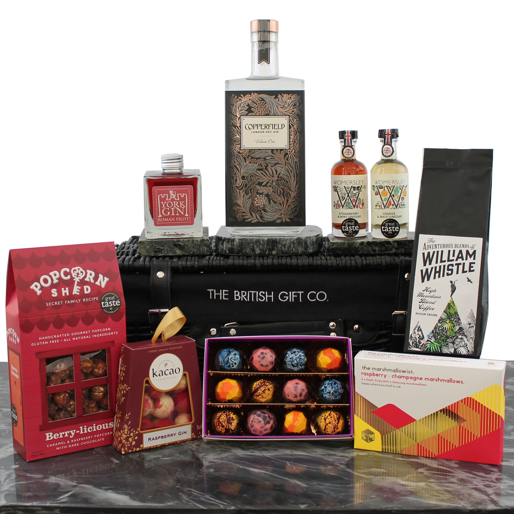Luxury gift hamper for her with gin, chocolate, truffles, popcorn, marshmallows, vinegars and coffee