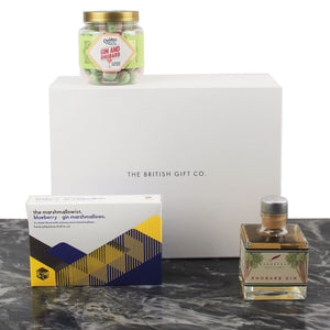rhubarb gin gift set with rhubarb gin flavoured bon bons & gin marshmallows