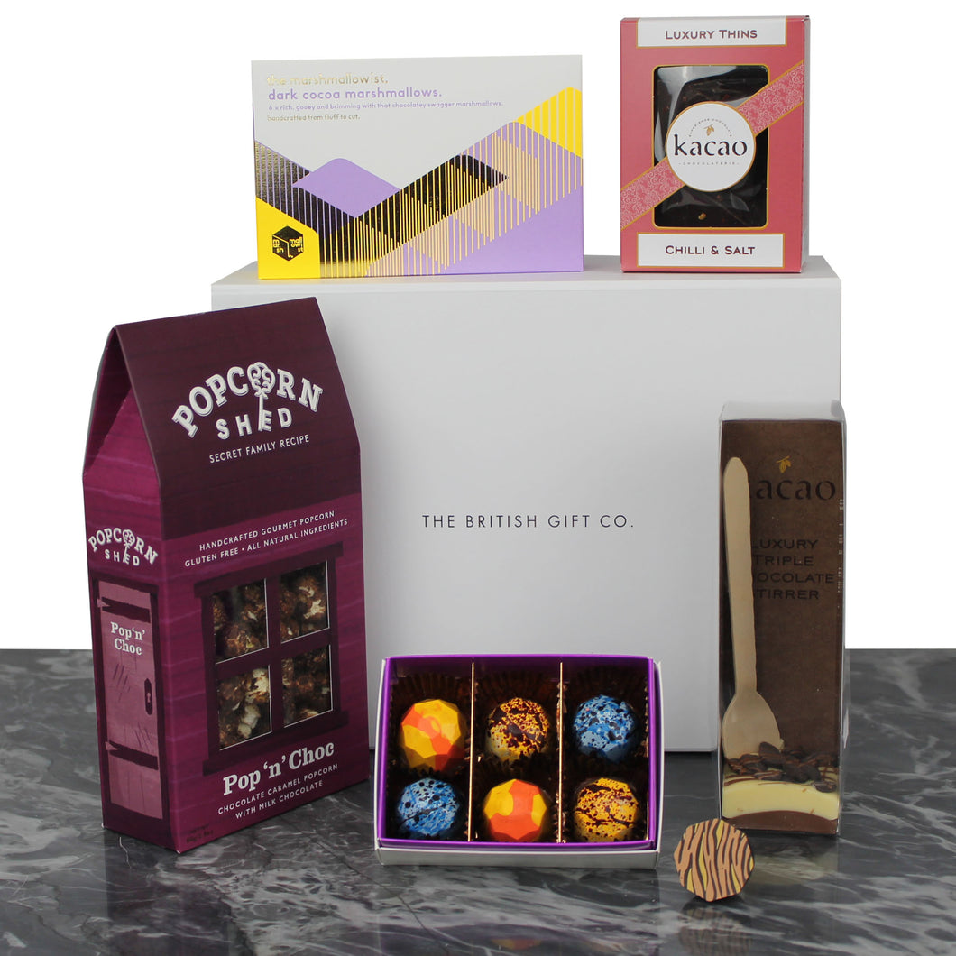 chocoholic gift full of decadent chocolate products from the U.K