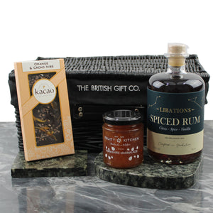 Rum Gift Set with Libations Spiced Rum, Orange & Cacao Nib Dark Chocolate and Orange Yorkshire Marmalade