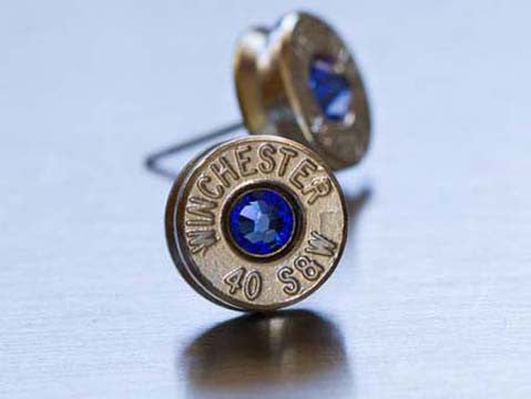 Earrings Studs Brass w/Birthstones
