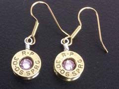 Earrings Dangle Brass w/Birthstones