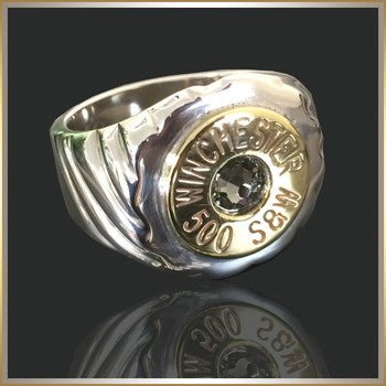 Sterling Silver Ring Men's 500 S&W