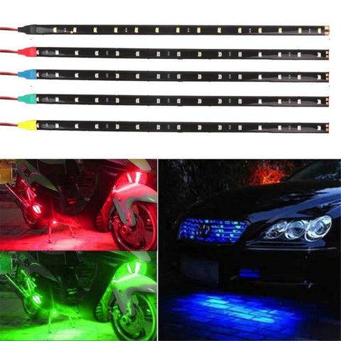 30CM LED Motorcycle Decorative Lamp Strip Waterproof Flexible Underbody Boat Atmosphere Decorative Lamp Red Green Blue White