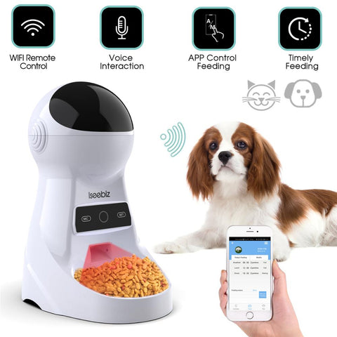 4 times One Day Iseebiz 3L Automatic Pet Feeder With Voice Record Pets food Bowl For MediumDog Cat LCD Screen Dispensers