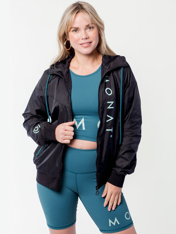 MONAT Zip Front Windbreaker Black