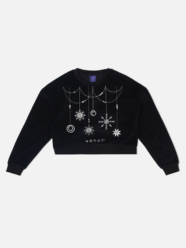 Monat Holiday Sweater Cropped - Black