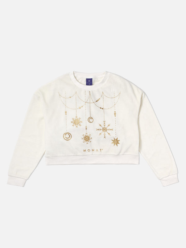 Monat Holiday Sweater Cropped White