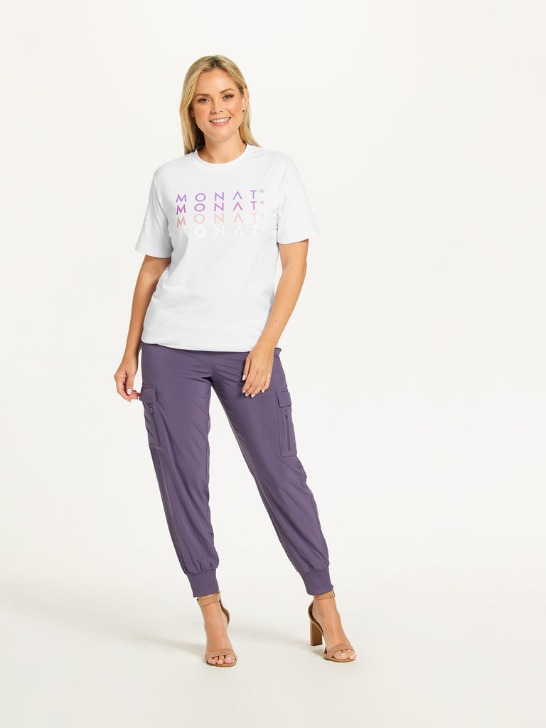 MONAT Logo on Repeat Tee Shirt - White