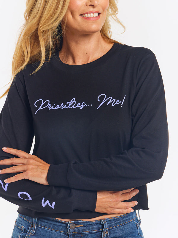 MONAT Priorities...Me Long Sleeve Crop - Black