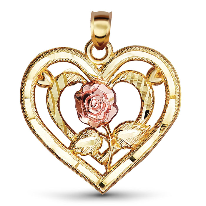 14kt Gold Diamond Cut Heart With Rose