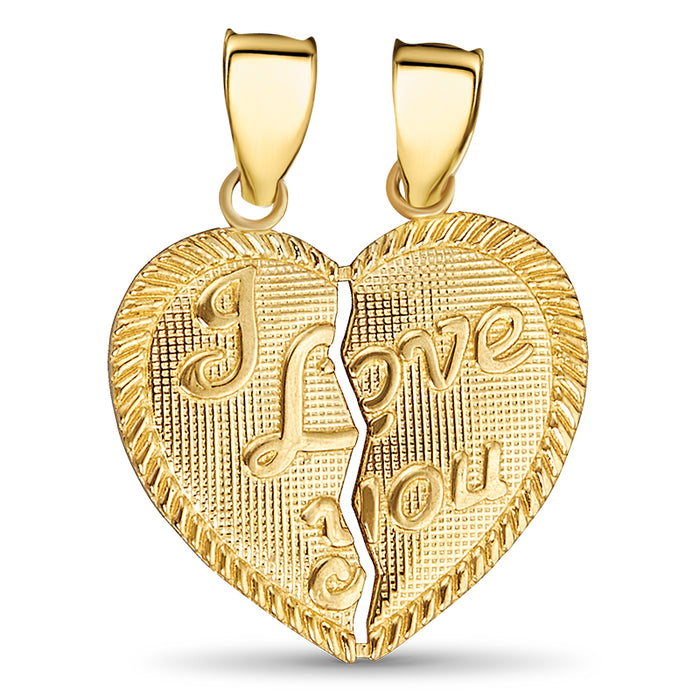 14kt Gold I Love You Broken Heart Pendant
