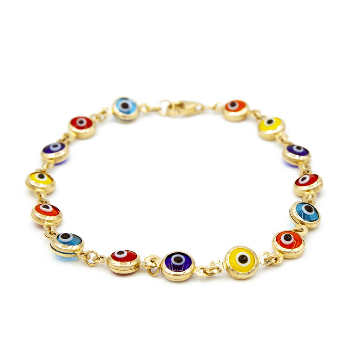 14kt Yellow Gold Women's Evil Eye Bracelet