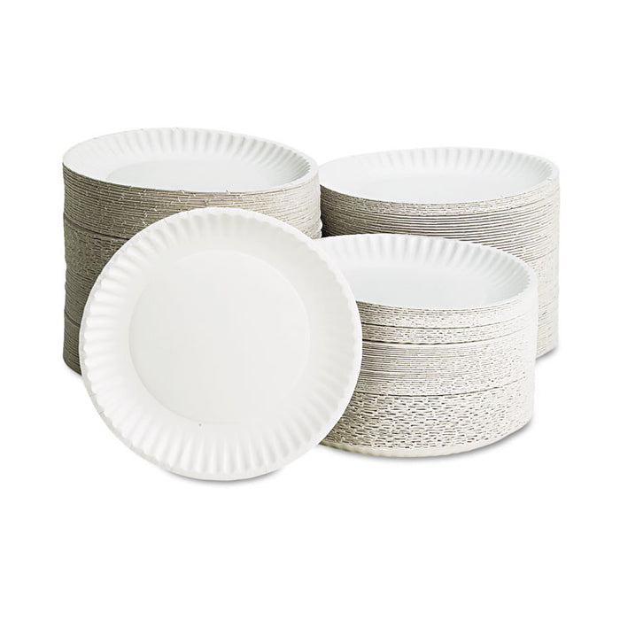 "White Paper Plates, 9"" Diameter, 100/Bag"