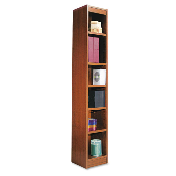 "Narrow Profile Bookcase, Wood Veneer, Six-Shelf, 11.81""w x 11.81""d x 71.73""h, Medium Cherry"