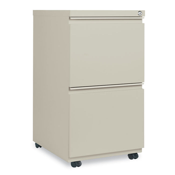 Two-Drawer Metal Pedestal File with Full-Length Pull, 14.96w x 19.29d x 27.75h, Putty