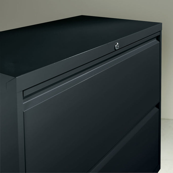 Two-Drawer Lateral File Cabinet, 30w x 18d x 28h, Black