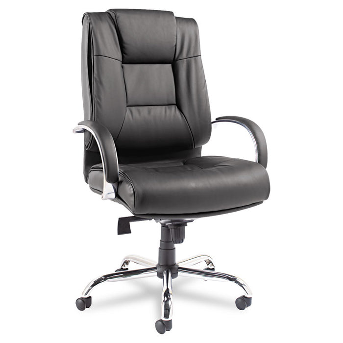 Alera Ravino Big and Tall Series High-Back Swivel/Tilt Leather Chair, Supports up to 450 lbs., Black Seat/Back, Chrome Base
