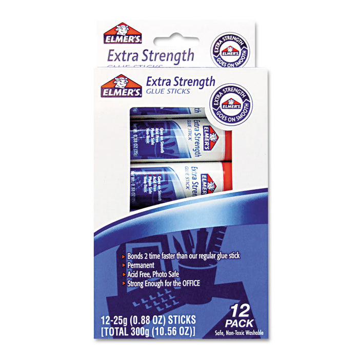 Extra-Strength Office Glue Stick, 0.88 oz, Dries Clear, 12/Pack