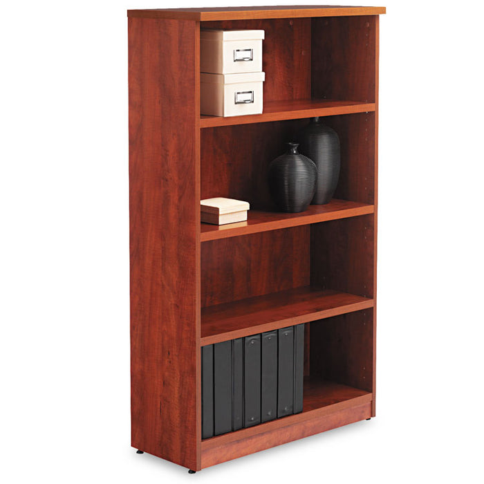 Alera Valencia Series Bookcase, Four-Shelf, 31 3/4w x 14d x 54 7/8h, Medium Cherry