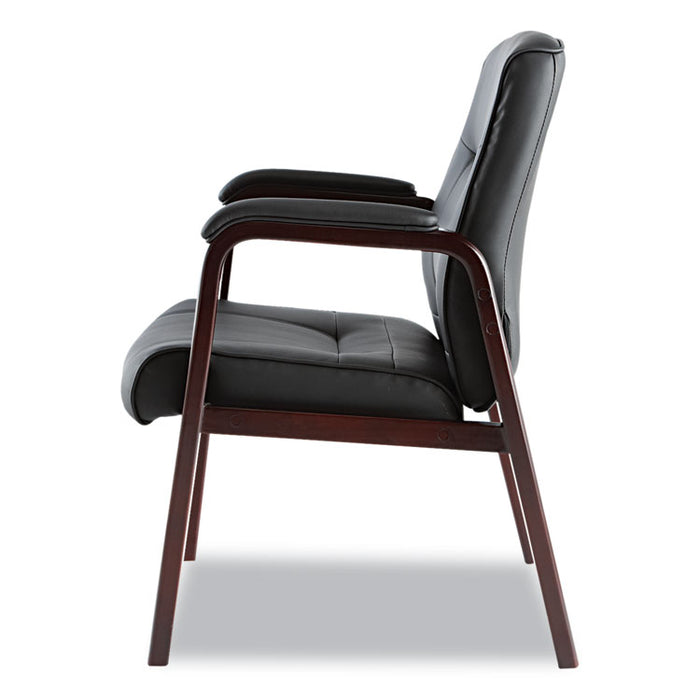 "Alera Madaris Series Leather Guest Chair with Wood Trim Legs, 24.88"" x 26"" x 35"", Black Seat/Black Back, Mahogany Base"
