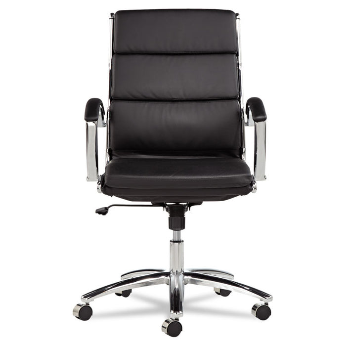 Alera Neratoli Mid-Back Slim Profile Chair, Supports up to 275 lbs., Black Seat/Black Back, Chrome Base