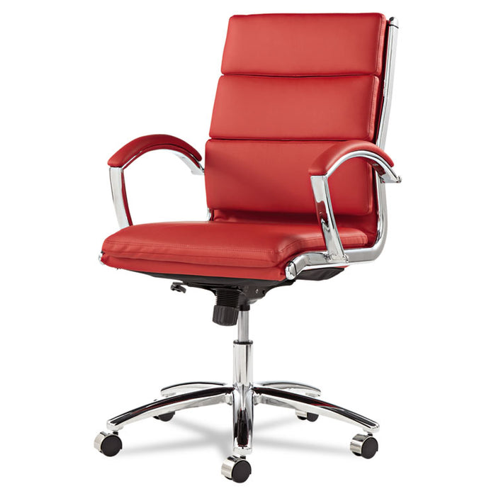 Alera Neratoli Mid-Back Slim Profile Chair, Supports up to 275 lbs., Red Seat/Red Back, Chrome Base