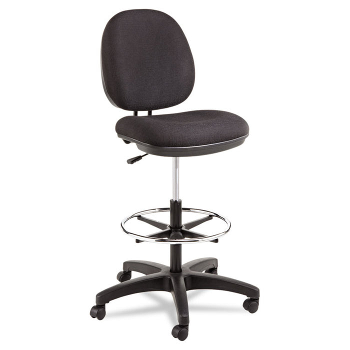 "Alera Interval Series Swivel Task Stool, 33.26"" Seat Height, Supports up to 275 lbs., Black Seat/Black Back, Black Base"