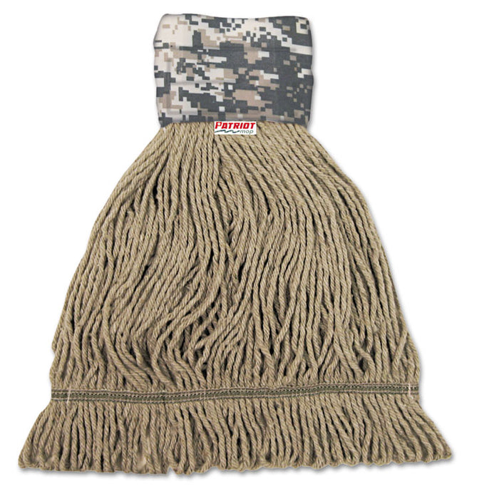Patriot Looped End Wide Band Mop Head, Medium, Green/Brown, 12/Carton