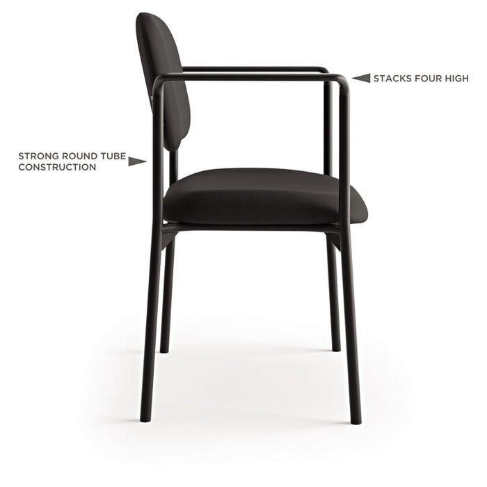 VL616 Stacking Guest Chair with Arms, Charcoal Seat/Charcoal Back, Black Base