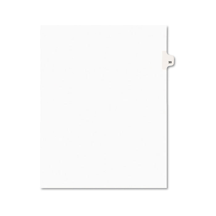 Preprinted Legal Exhibit Side Tab Index Dividers, Avery Style, 10-Tab, 30, 11 x 8.5, White, 25/Pack