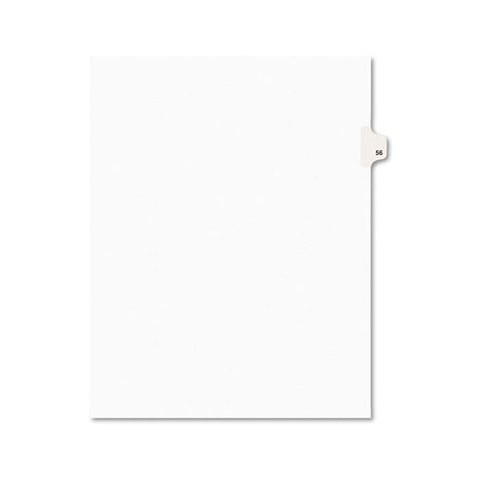 Preprinted Legal Exhibit Side Tab Index Dividers, Avery Style, 10-Tab, 56, 11 x 8.5, White, 25/Pack