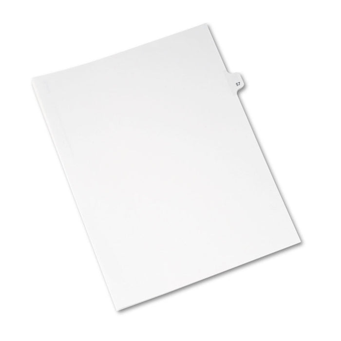 Preprinted Legal Exhibit Side Tab Index Dividers, Avery Style, 10-Tab, 57, 11 x 8.5, White, 25/Pack