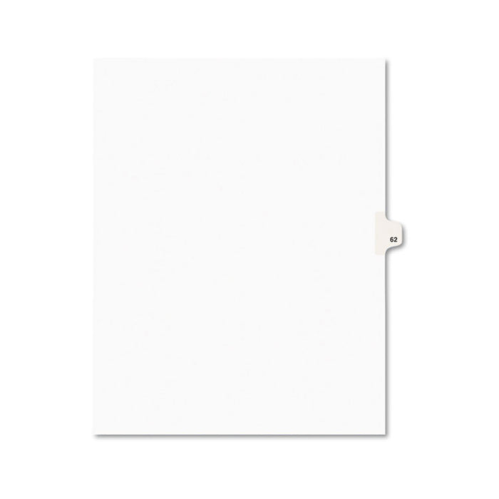 Preprinted Legal Exhibit Side Tab Index Dividers, Avery Style, 10-Tab, 62, 11 x 8.5, White, 25/Pack