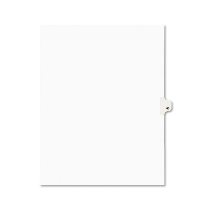 Preprinted Legal Exhibit Side Tab Index Dividers, Avery Style, 10-Tab, 63, 11 x 8.5, White, 25/Pack