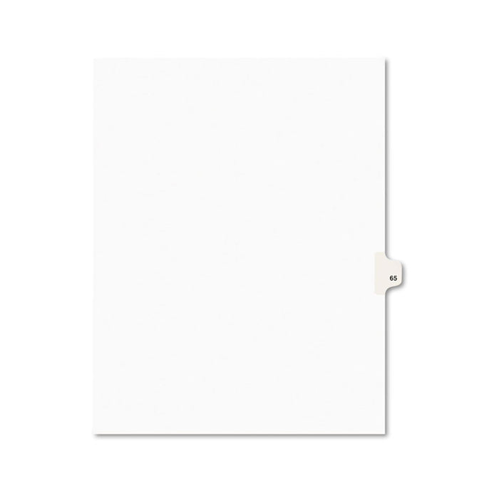 Preprinted Legal Exhibit Side Tab Index Dividers, Avery Style, 10-Tab, 65, 11 x 8.5, White, 25/Pack