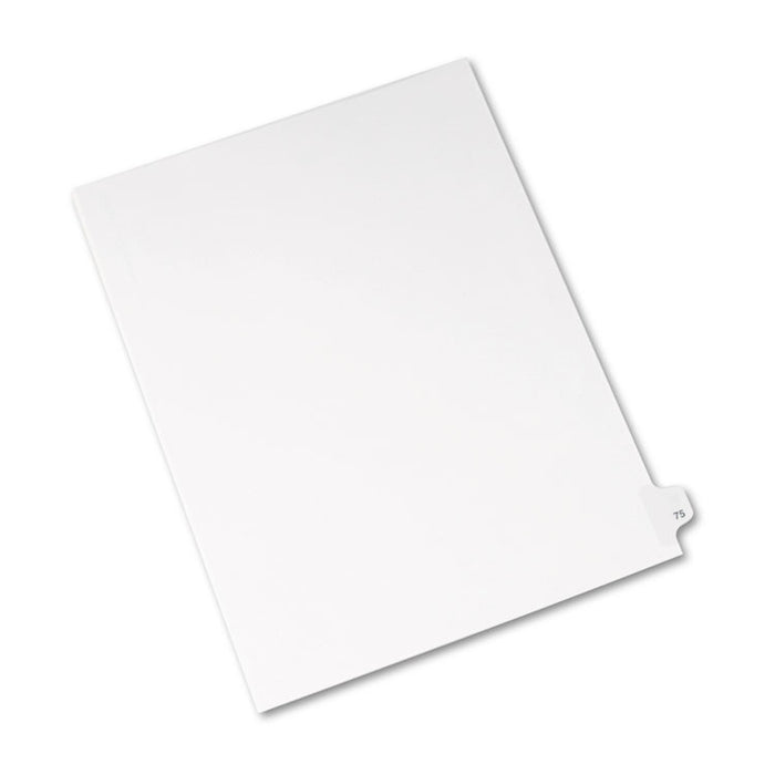 Preprinted Legal Exhibit Side Tab Index Dividers, Avery Style, 10-Tab, 75, 11 x 8.5, White, 25/Pack