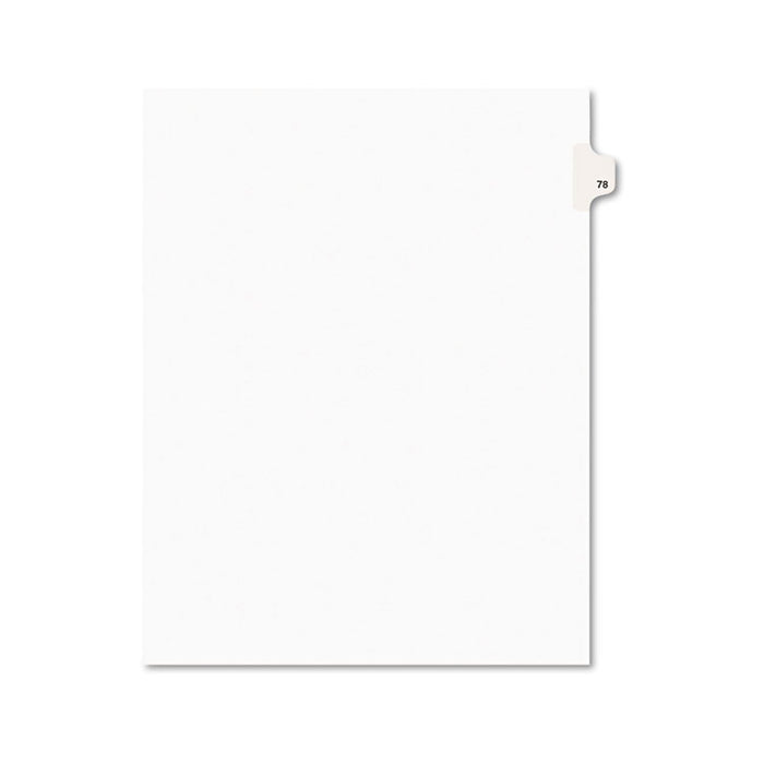 Preprinted Legal Exhibit Side Tab Index Dividers, Avery Style, 10-Tab, 78, 11 x 8.5, White, 25/Pack