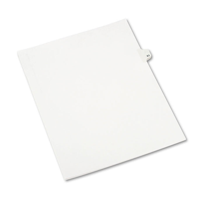 Preprinted Legal Exhibit Side Tab Index Dividers, Avery Style, 10-Tab, 83, 11 x 8.5, White, 25/Pack