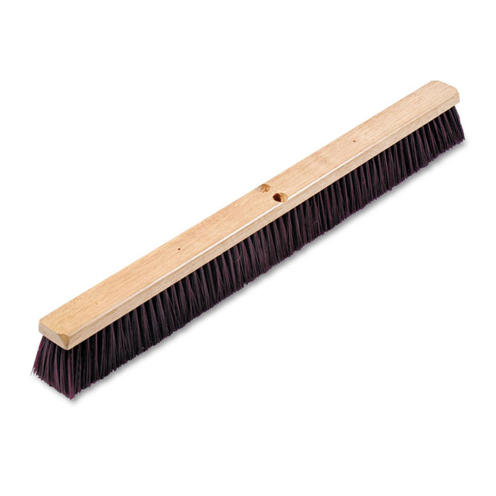 "Floor Brush Head, 3 1/4"" Maroon Stiff Polypropylene, 36"""