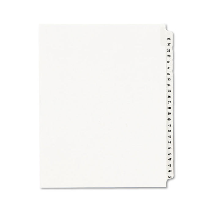 Preprinted Legal Exhibit Side Tab Index Dividers, Avery Style, 25-Tab, 26 to 50, 11 x 8.5, White, 1 Set